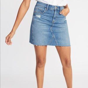 NWT Old Navy boyfriend raw hem denim mini skirt 4